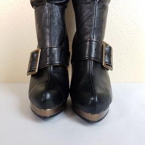 Ellie womens boots 8 black copper lace buckle heel